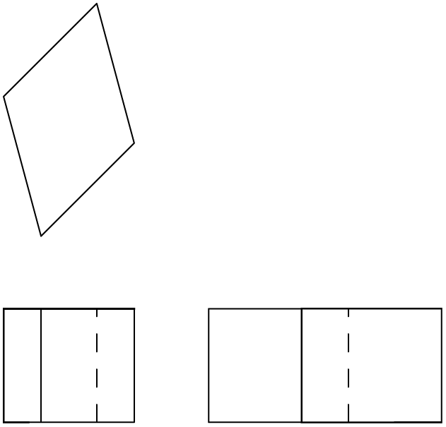 An object (I call a Vube) shown in 3rd angle orthogonal which when drawn in isometric looks like a cube in oblique.