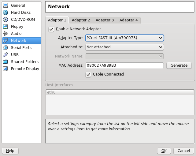 Virtual Box Network Settings