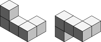 Two pentacubes which are the same if you count mirroring as an allowed operation when testing for equality, but not the same if you don't (you can't rotate one to fall on the other).