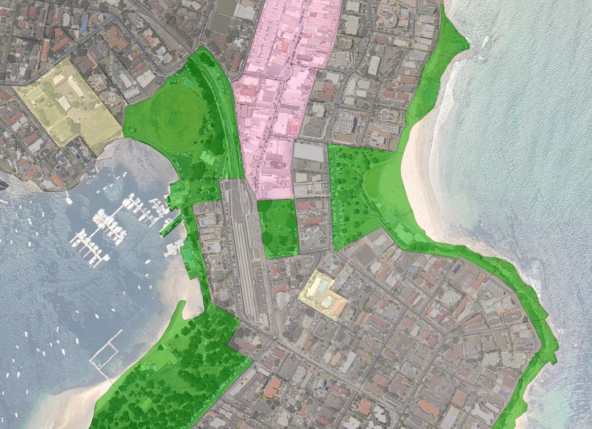 ABS Mech Blocks with landuse styling in JOSM, with NearMap underlay.
